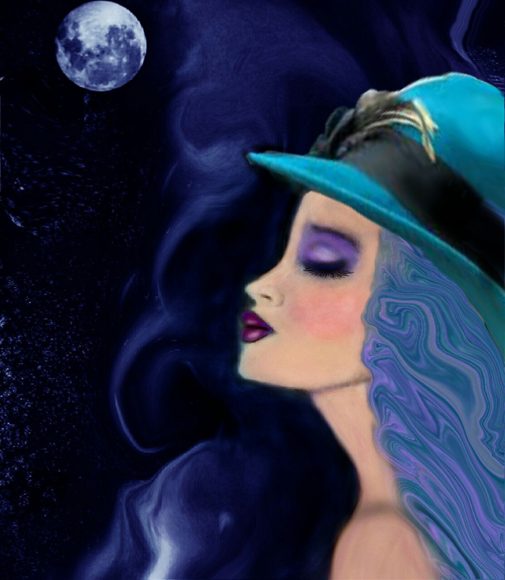 Featured image!!!!! #night #blues #colorful  drawing #freetoedit  #hat #woman #music #fullmoon #funky
