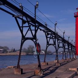 lighthouse red lakeshore lakemichigan beach