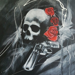 blackandwhite red skull rose colorsplash
