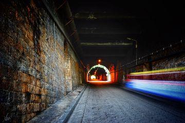 tunnel road hightspeed car lights