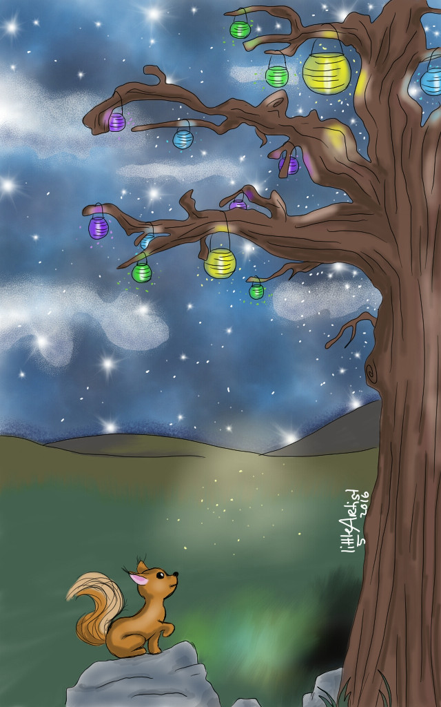 #colorful #cute #nature #petsandanimals #art #artist #sketchbookpro #digitalart #tree #lights