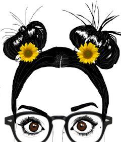 freeto eyeglasses sunflowers girl freetoedit