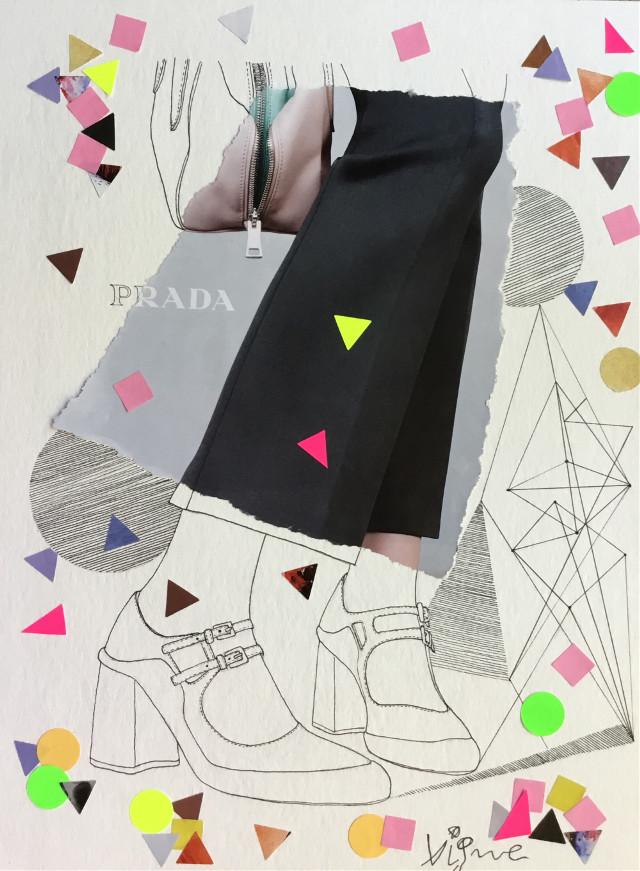 Prada collage # fashion #collage #fashioncollage #illustration #draw #rociovigne #vigneillustration