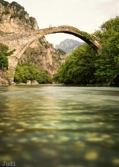longexposure mountains bridge epirus greece