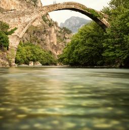 longexposure mountains bridge epirus greece