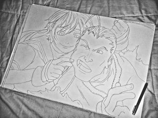 blackandwhite hdr pencilart anime