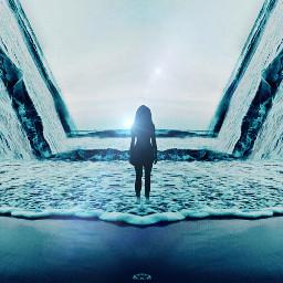 ocean mirror mirrored blue skyline