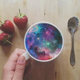 coffee coffeeoverlay strawberries galaxy art