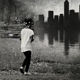 blackandwhite girl cityscape nature madewithpicsart