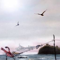 wdpwindy drawing draw sea beach boat art digitalart landscape