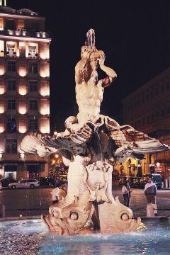 aliveatnight tritonsfountain fontanadeltritone fountain fontana freetoedit
