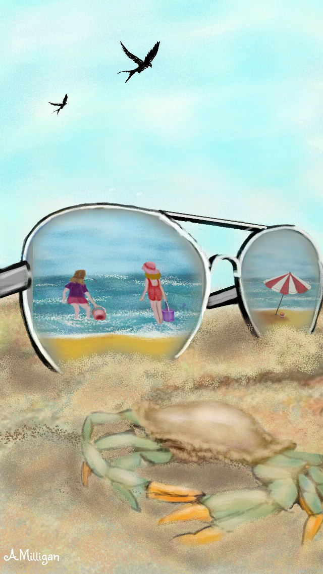 #wdpsunglasses My second entry for wdpsunglasses 😊 Step by step guide on my profile page 😊💚  #colorful #colorsplash #beach #nature #petsandanimals #summer  #glasses  #draw 😊💚❤