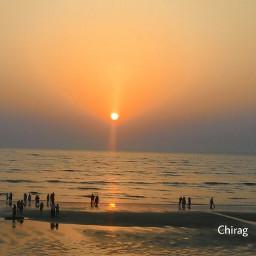 sunset evening beach people nature freetoedit