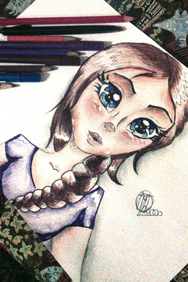 #girl #portrait #blue #purple #people #drawing #mydrawing