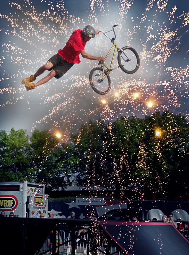 BMX show at the Stars and stripes festival...   #colorful # holidays #people #photography # action  #overlays # edited #emotions