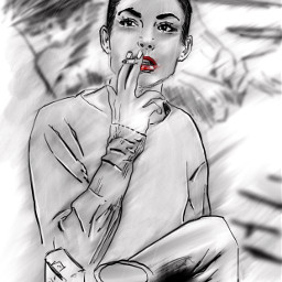 freetoedit drawing sketch blackandwhite girl