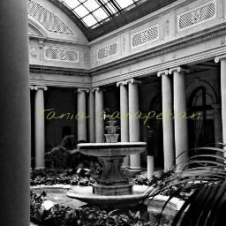 frickcollection courtyard indoorgarden blackandwhite e