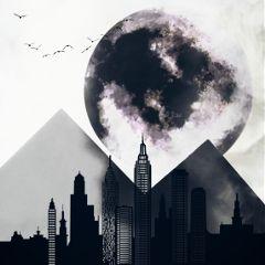 freetoedit blackandwhite blackandwhitelowcon moon clipart