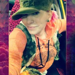 thisisme camo camouflage orange tatteredhat