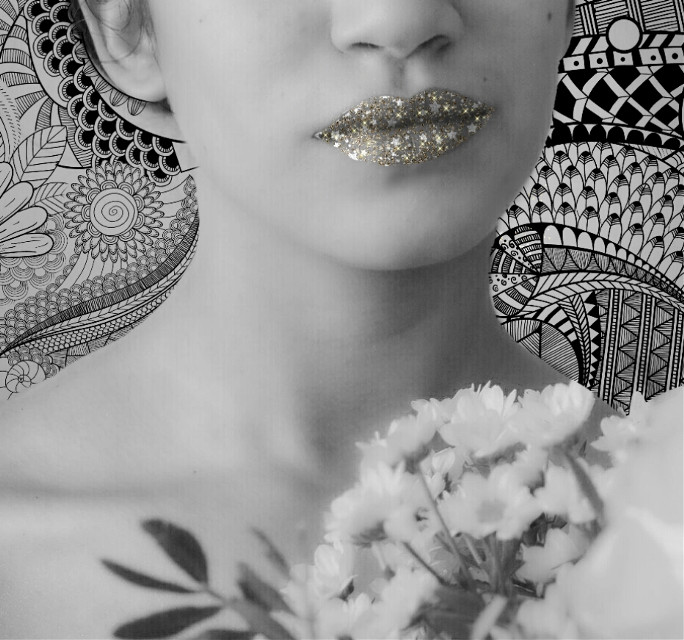 #FreeToEdit #blackandwhite #bokeh #people #glitter #glitterlips #doodling #trendy #wapaddmakeup