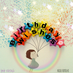 freetoedit birthday wishes rainbow fantasy