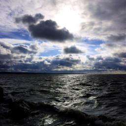 sky sea nature clouds