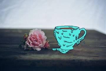 grime cup rose flower cofee