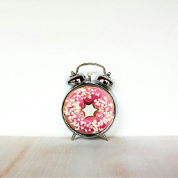 food donut clock sweet pink wapcolorwrap