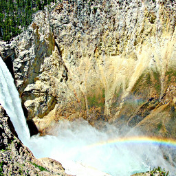yellowstone park waterfall lowerfalls misty rainbow canon
